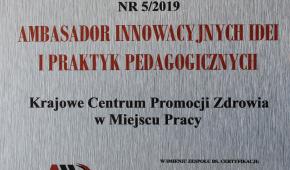 duże zdjęcie certyfikatu Ambasadora innowacyjnych Idei iPraktyk Pedagogicznych