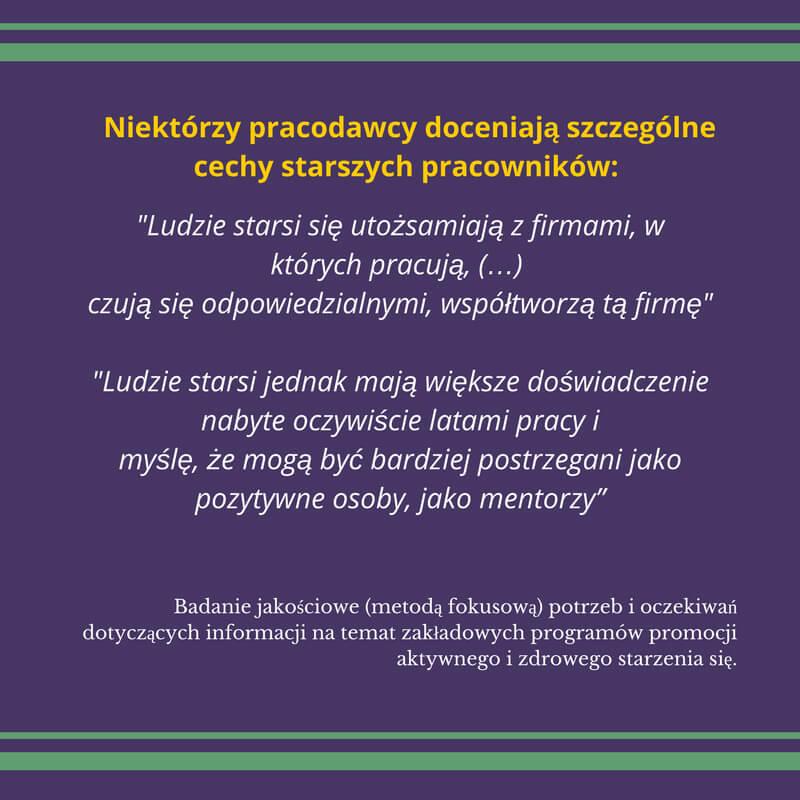 Fioletowa grafika zapełniona tekstem wkolorze białym zżółtym nagłówkiem pt. Niektórzy pracodawcy oceniają szczególne cechy starszych pracowników.
