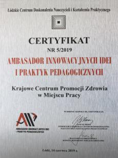 certyfikat ambasador innowacji
