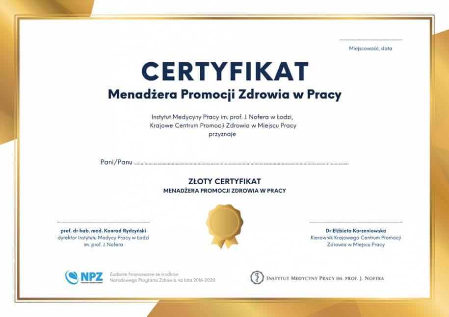 Złoty certyfikat menadżera promocji zdrowia wpracy.