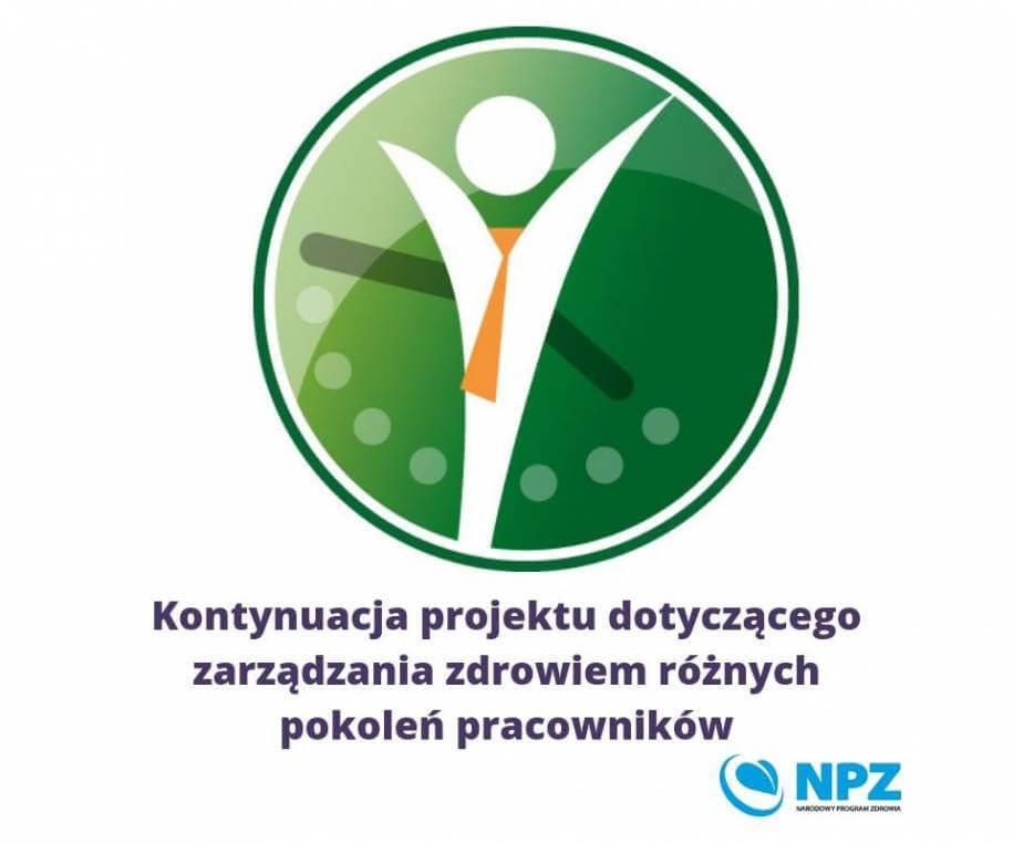Grafika przedstawia logo praca na zdrowie ztekstem informującym okontynuacji projektu.