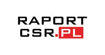 Grafika przedstawia czarno-czerwone logo patrona konferencji raportcsr.pl
