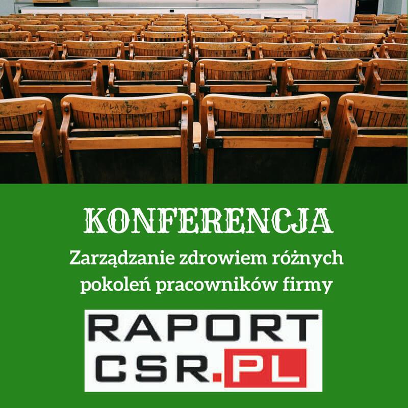 Zielona grafika zbiałym tekstem informującym okonferencji. Wgórnej części grafiki jest fotografia sali wykładowej zdrewnianymi krzesłami.