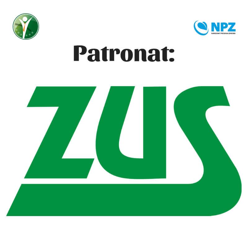 Grafika przedstawia logo ZUS podpisanego jako patronat.
