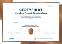 zdjęcie brązowego Certyfikatu Menadżera Promocji Zdrowia w Pracy