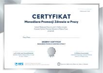 zdjęcie srebrnego Certyfikatu Menadżera Promocji Zdrowia w Pracy