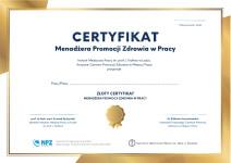 zdjęcie złotego Certyfikatu Menadżera Promocji Zdrowia w Pracy