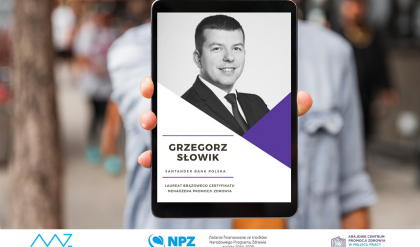 Grzegorz Słowik - laureat brązowego Certyfikatu Menadżera Promocji Zdrowia
