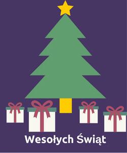 Grafika zżyczeniami świątecznymi zchoinką iprezentami na fioletowym tle.