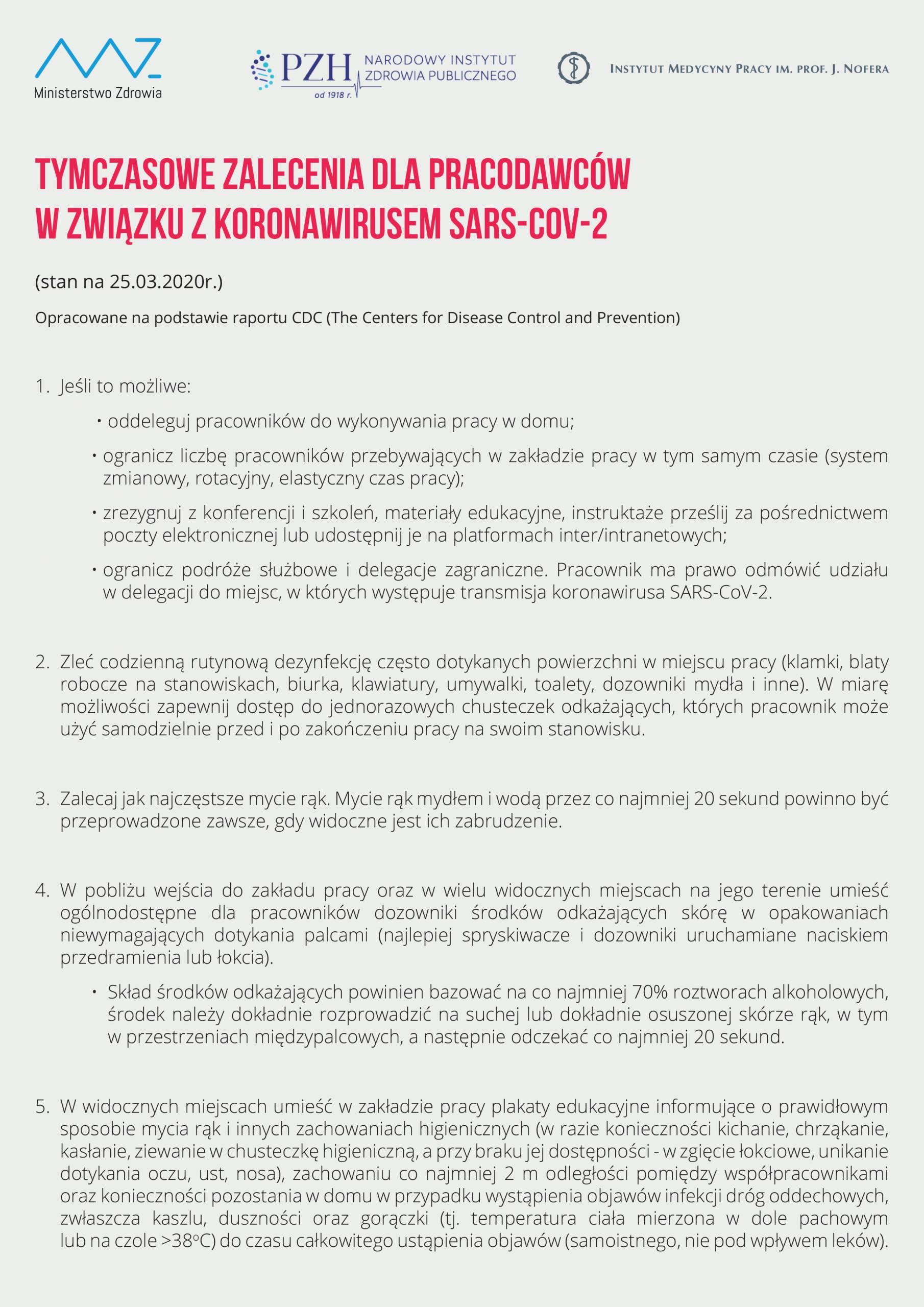 Tymczasowe zalecenia dla pracodawców wzwiązku zkoronawirusem SARS-COV-2